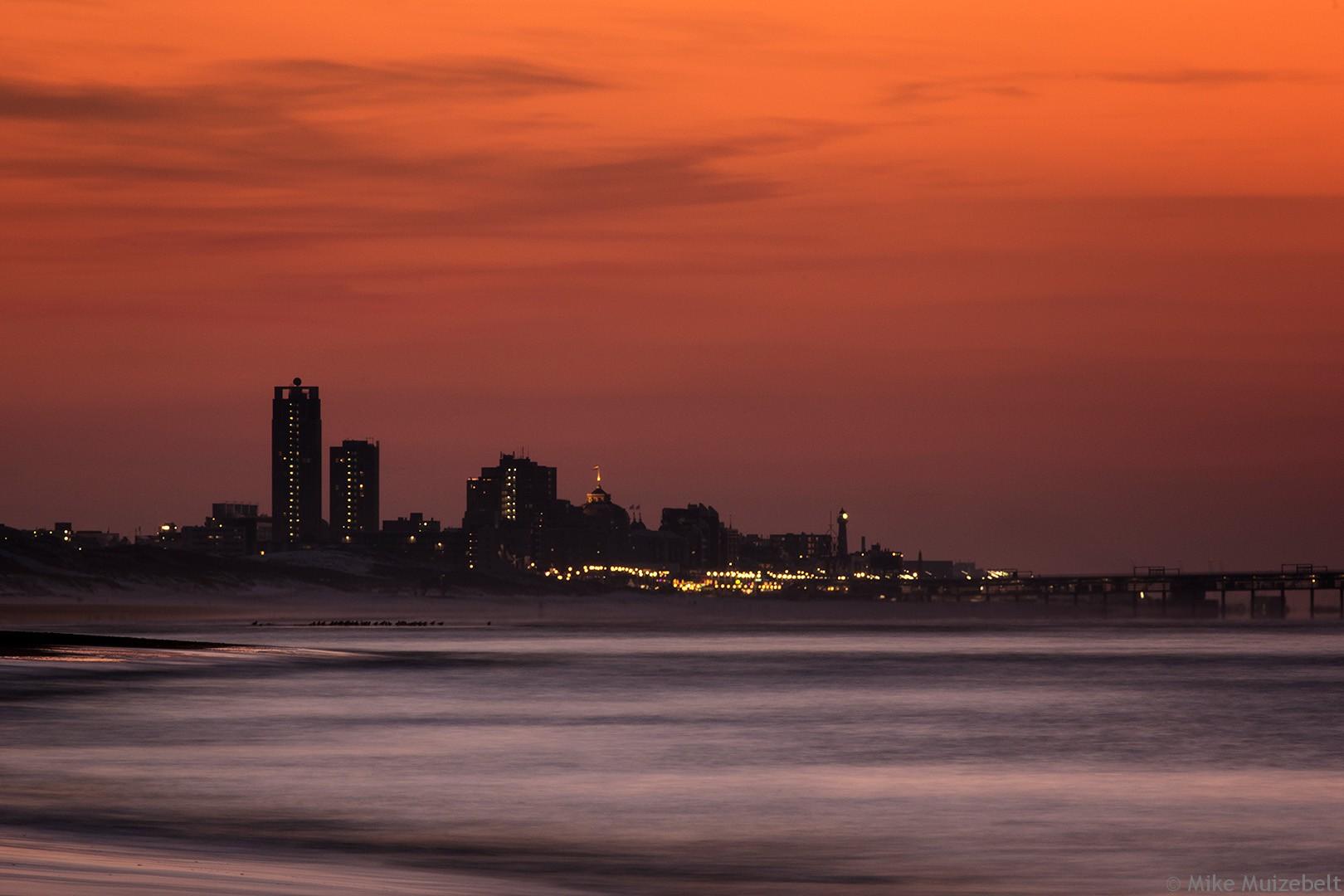 #sunset #bloodred #Scheveningen #beach #sea #ocean